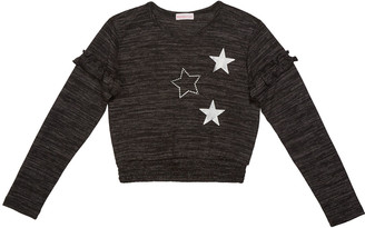 Design History Girls Girl's Metallic Stars Heathered Top, Size S-XL