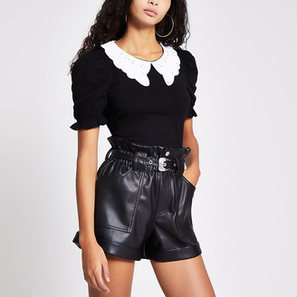 River Island Black embroidered collar puff sleeve top