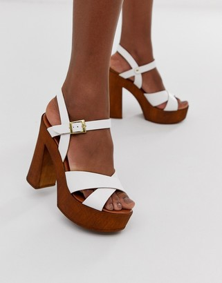 ASOS DESIGN Translate heeled sandals in white