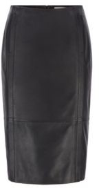HUGO BOSS Leather Pencil Skirt With Feature Seaming And Concealed Zip - Black