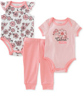 Calvin Klein 3-Pc. Cotton Floral Bodysuits & Pants Set, Baby Girls (0-24 months)