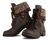 Soda Sunglasses Women's Oracle Lace-up Combat Folded Cuff Riding Mid-Calf Boots Soda, Dark Tan