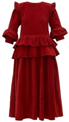 Story mfg. Tulsi Ruffled Cotton-corduroy Midi Dress - Red Multi