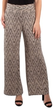 NY Collection Chain-Trim Wide-Leg Pants