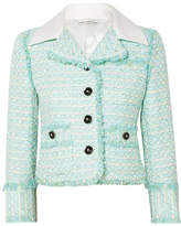 Alessandra Rich - Twill-trimmed Embellished Tweed Jacket - Mint