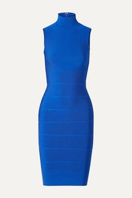 Herve Leger Icon Bandage Turtleneck Dress - Cobalt blue