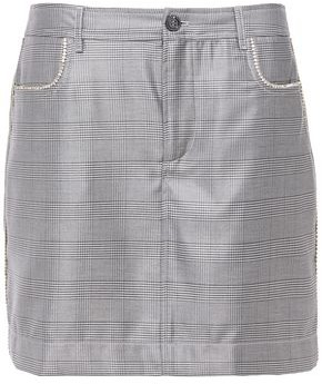 Ganni Paloma Crystal-embellished Prince Of Wales Checked Silk And Wool-blend Mini Skirt