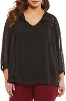 Gibson & Latimer Plus Velvet Embroidered Blouse