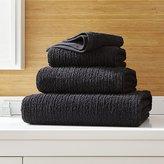 Crate & Barrel Ribbed Black Bath Towels