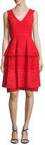 Talbot Runhof Moldova Sleeveless Lace Cocktail Dress, Red