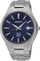 Seiko Men's Solar Silver-Tone Titanium Bracelet Watch 40mm SNE381