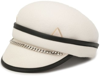 Venna Newsboy chain-trimmed felt hat
