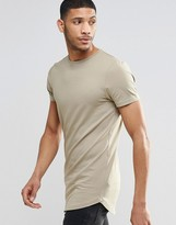 Asos Super Longline Muscle T-shirt With Curved Hem In Brown