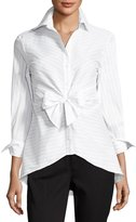Neiman Marcus Striped Tie-Front Blouse, White/Black