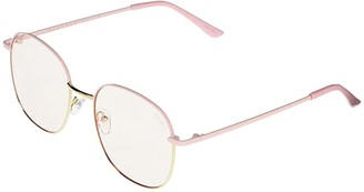 Quay Jezabell (Pink Gold/Clear Blue Light) Fashion Sunglasses