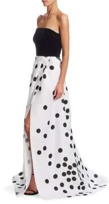 Monique Lhuillier Strapless Velvet Polka Dot Gown