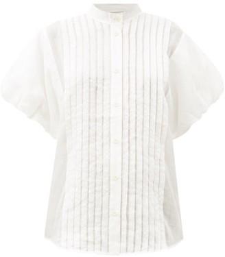 Lee Mathews Quinn Puff-sleeve Pleated Voile Top - Ivory