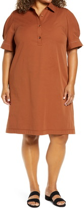Lafayette 148 New York Boyes Stretch Cotton Polo Midi Dress