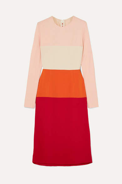 Marni Color-block Crepe Dress - Red