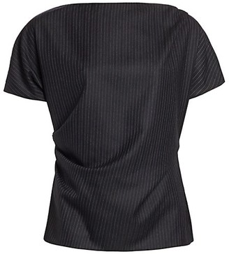 Dries Van Noten Short-Sleeve Wool Pinstripe Top