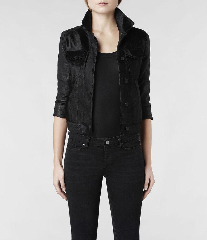 AllSaints Pony Whitting Cropped Leather Jacket