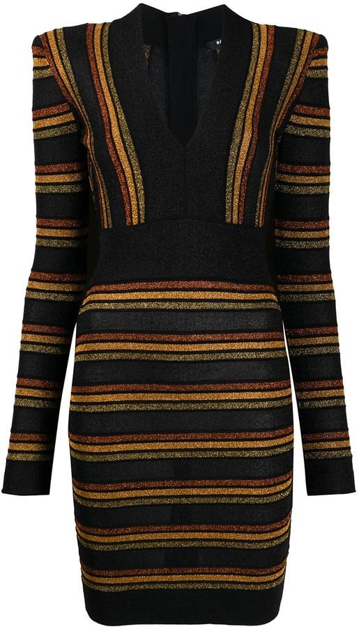 Balmain Stripe Pattern Dress