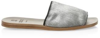 Brunello Cucinelli Flat Metallic Textured Suede Sandals