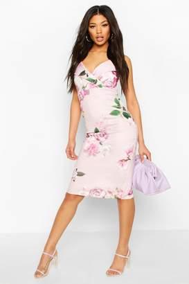 boohoo Floral Print Strappy Midi Dress