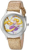 Disney Girl's 'Rapunzel' Quartz Stainless Steel and Leather Automatic Watch, Color:Gold-Toned (Model: W002964)
