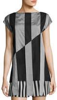 Akris Striped Cap-Sleeve Tunic Blouse, Black/Gris