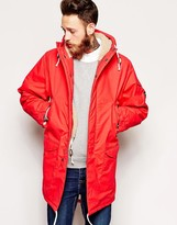Universal Works Parka in British Waxed Cotton with Fleece Lining