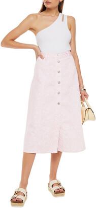 Ganni Floral-print Denim Midi Skirt