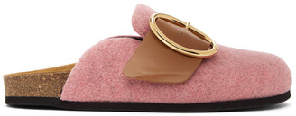 J.W.Anderson Pink Felt Buckle Loafers
