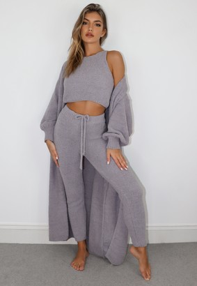 Missguided Grey Popcorn Knit Maxi Belted Cardigan