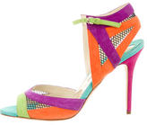 Brian Atwood Suede Mesh-Trimmed Sandals