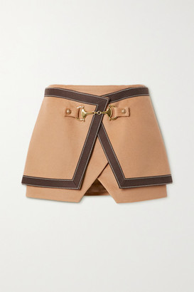 Balmain Layered Cotton-trimmed Wool And Cashmere-blend Mini Skirt - Camel