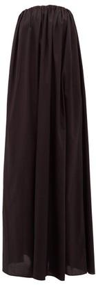 Matteau - The Strapless Voluminous Elasticated Cotton Dress - Womens - Black