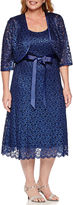 R & M Richards R&M Richards Elbow-Sleeve Lace Belted Jacket Dress - Plus