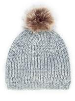 Sole Society Mixed Knit Beanie w/ Faux Fur Pom
