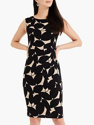 Phase Eight Laurita Leaf Dress, Black/Camel