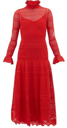 Alexander McQueen Crocheted Lace Panelled Midi Dress - Red