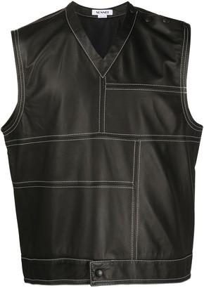 Sunnei V-Neck Leather Vest