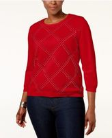 Alfred Dunner Plus Size Embellished Sweater