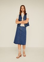 MANGO Midi denim skirt dark blue - XS - Women