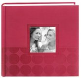 """Pioneer Embossed 2-Up Photo Album 4""""X6"""" 200 Pockets-Pink Circles"""