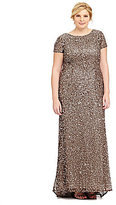 Adrianna Papell Plus Short-Sleeve Sequined Gown