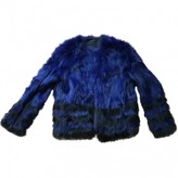 American Retro Blue Leather Coat for Women
