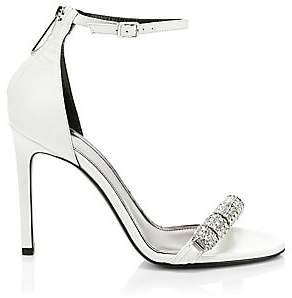 Calvin Klein Women's Asymmetric Crystal Metallic Leather Sandals