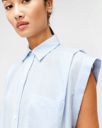 7 For All Mankind Sleeveless Cuffed Button-Up Shirt in Blue & White Stripes