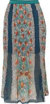 Anna Sui Flower Child Printed Plissé Silk-chiffon Skirt - Teal